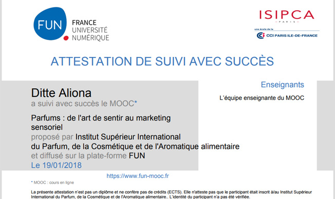 Attestation Mooc ISIPCA Aliona Ditte